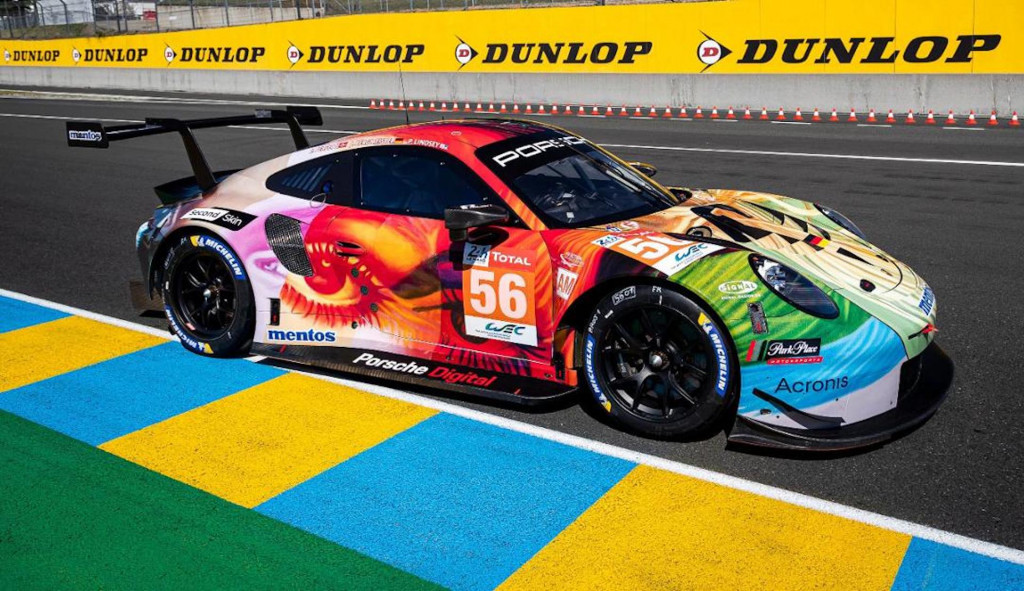 Porsche 911 RSR race car in Second Skin livery