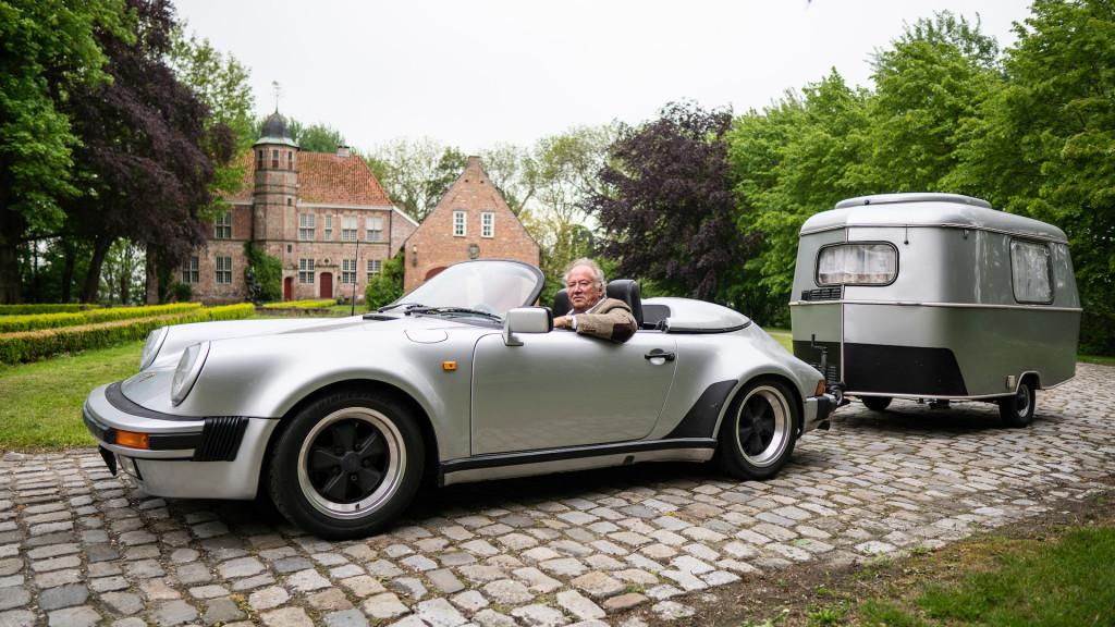 Porsche 911 Speedster tows matching camper