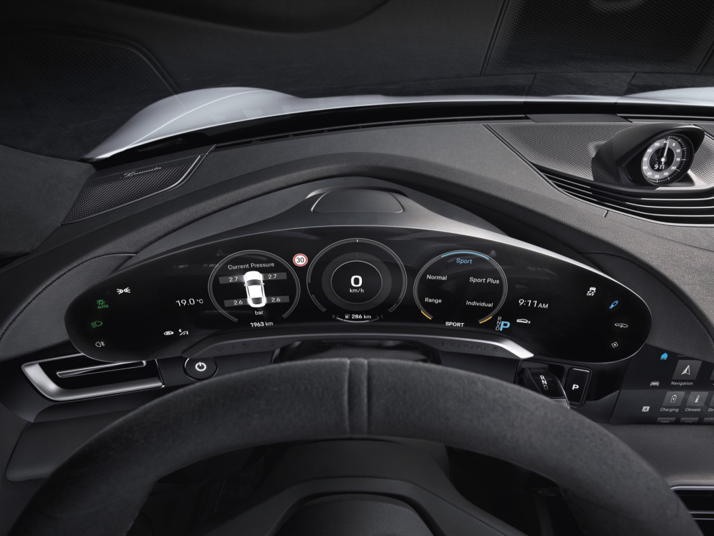 Porsche Taycan electric-car interior revealed: Five screens, but driver-focused