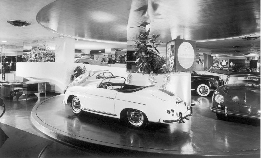 Porsches for sale at Hoffman Motor Car Company in New York City - circa 1954/1955