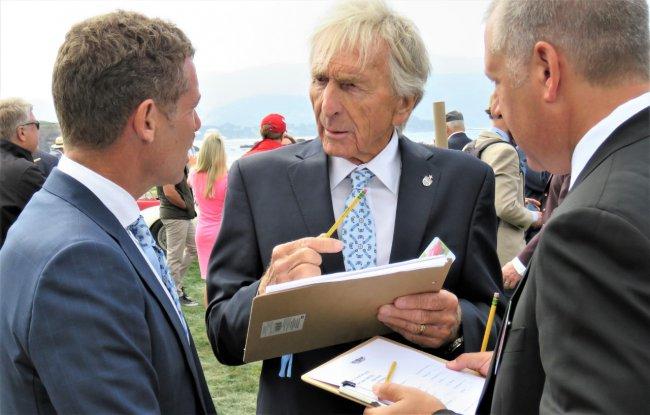 Racing legend Derek Bell judging at Pebble Beach | Bob Golfen photo