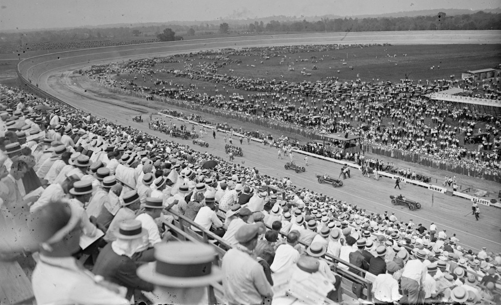 Racing on a board track draws a huge crowd in Laurel, Maryland, in 1925