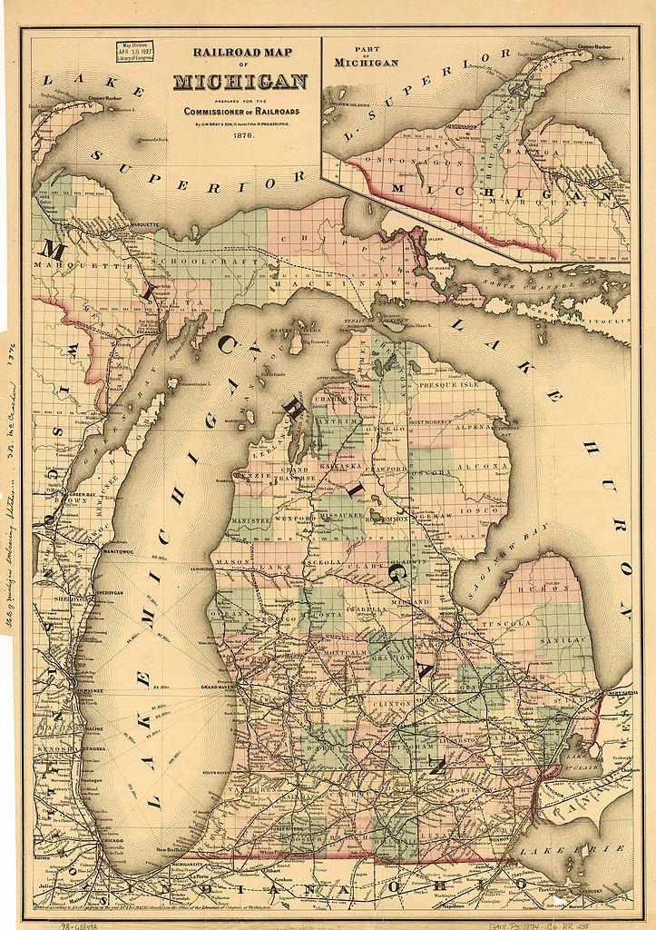 Railroad map prepared by the Michigan Railroad Commission, circa 1876.