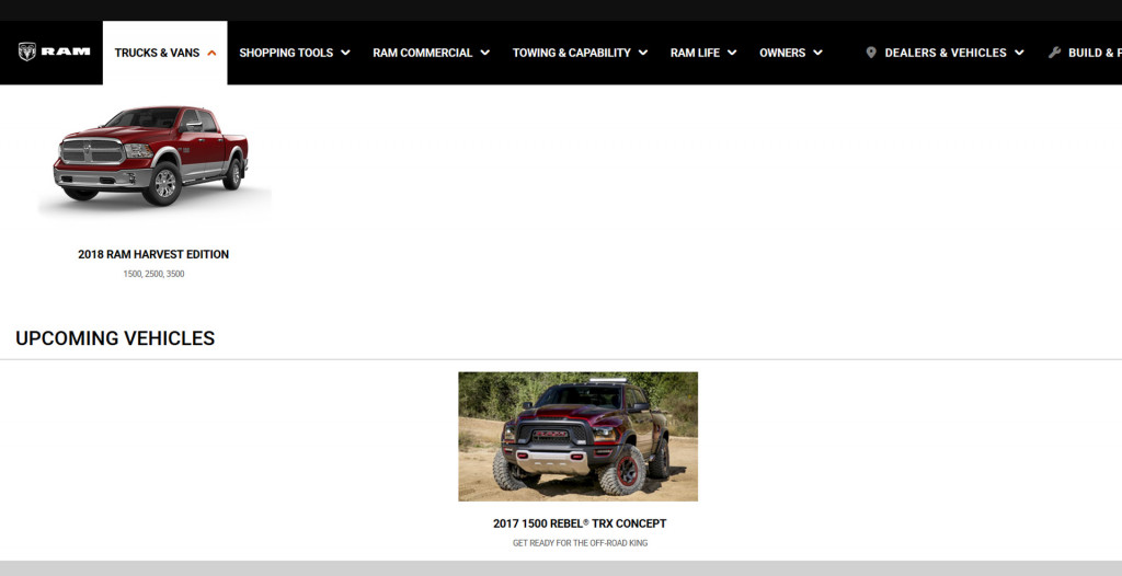 Ram Rebel TRX listed under 'Upcoming Vehicles'