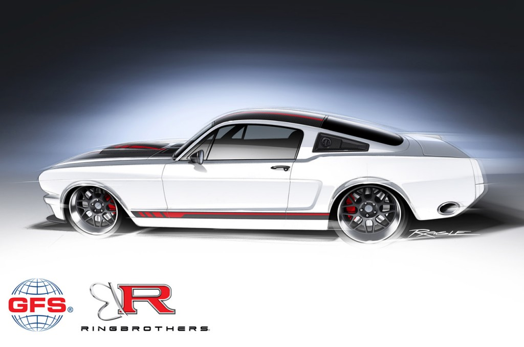 Ring Brothers custom 1965 Ford Mustang with a 710-hp NASCAR engine for 2013 SEMA show