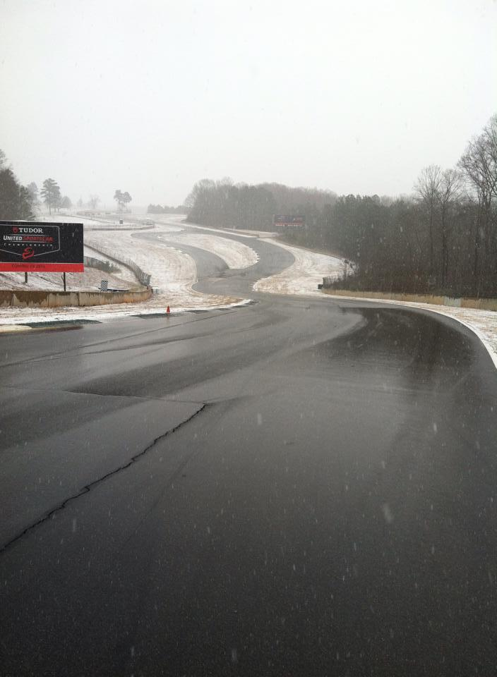 Road Atlanta in the snow, via Rebellion Racing @RebellionRacing on Twitter