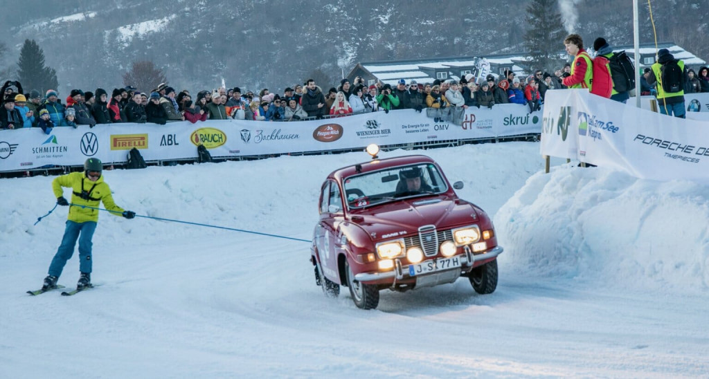 Saab skijoring at the second GP Ice Race weekend