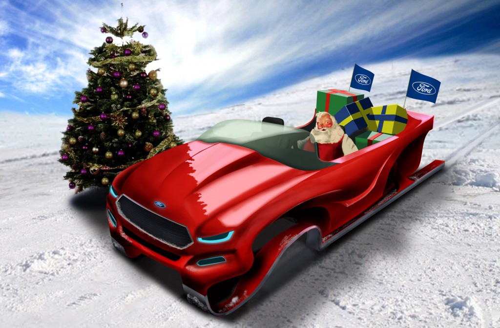 Santa Claus in his Ford Evos-inspired concept sleigh