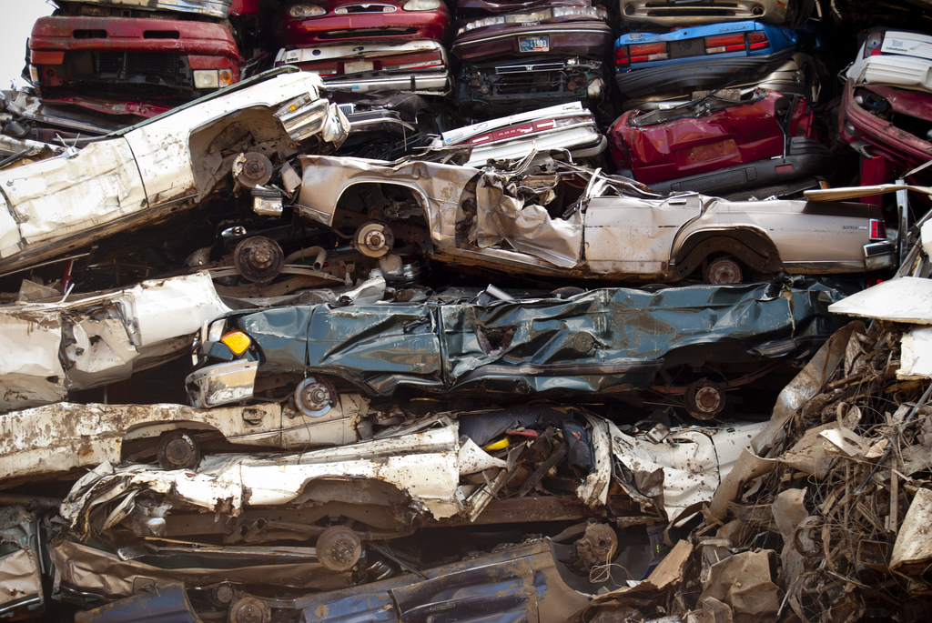 Scrapped cars. Photo by Flickr user Edward Blake.