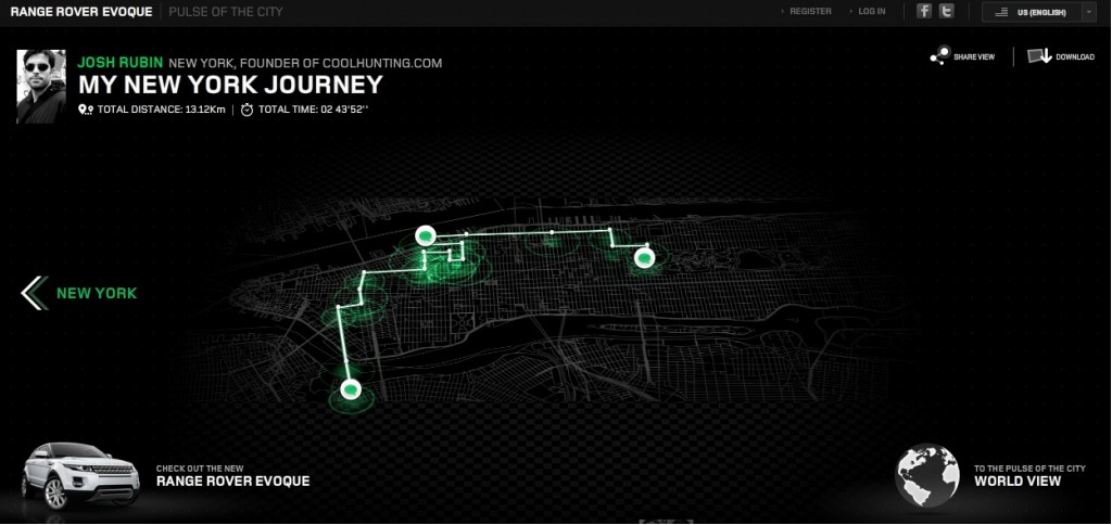 Screencap from Land Rover's 'Pulse of the City' program