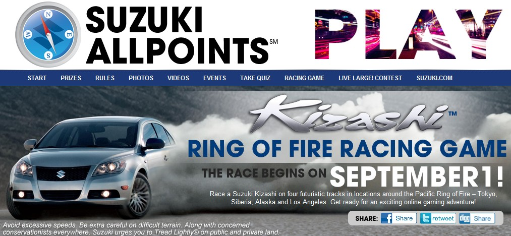 Screencap from Suzuki's AllPoints contest