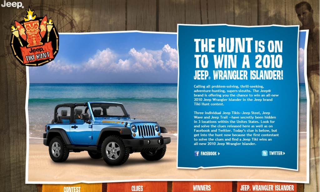 Screencap from the Jeep Tiki Hunt website