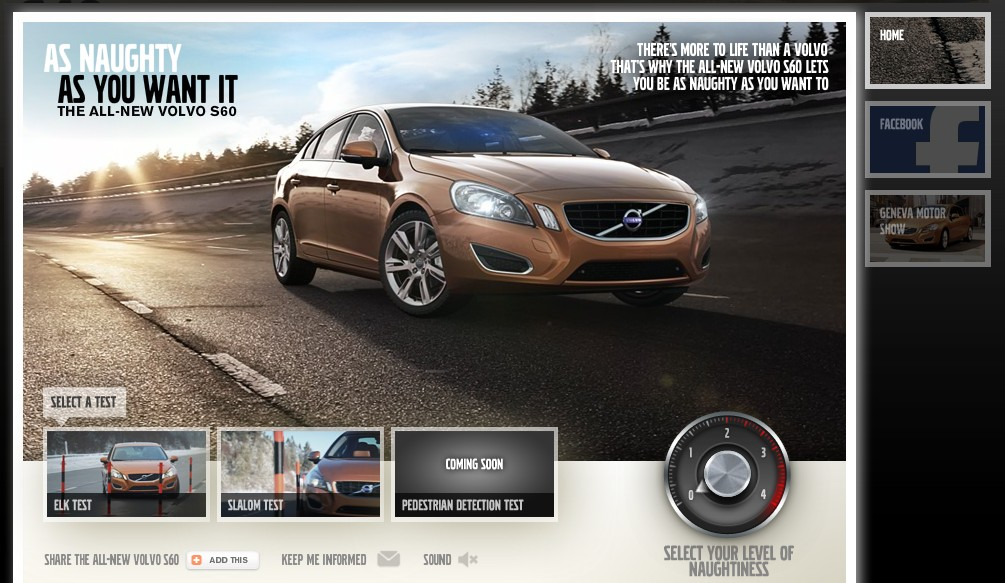 Screencap from Volvo's 'Naughty' website for the 2010 S60