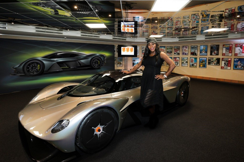 Serena Williams with a near production-ready Aston Martin Valkyrie