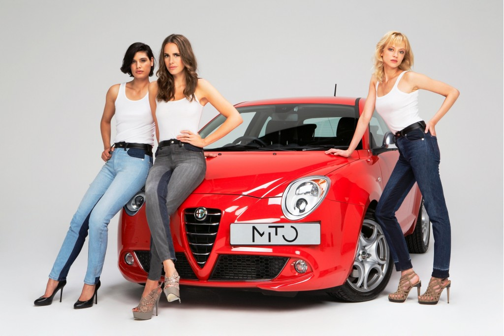 Skinny-fit jeans, sponsored by Alfa Romeo