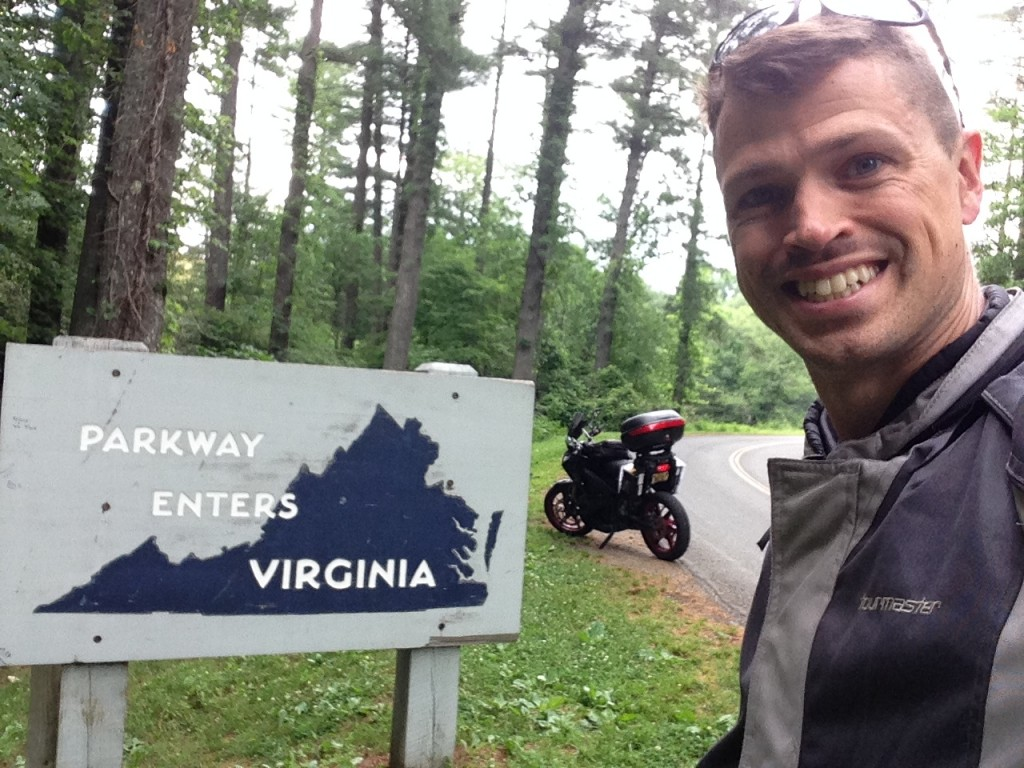 Snapshot from road trip through N Carolina, Tennessee & Virginia on 2012 Zero S electric motorcycle