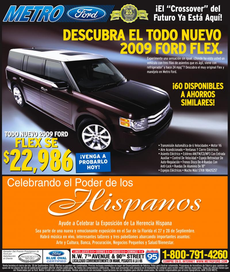 Spanish-language ad for the 2009 Ford Flex