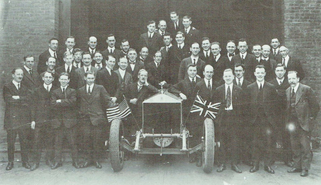 Springfield assembly plant supervisory staff poses with the first US-constructed Silver Ghost