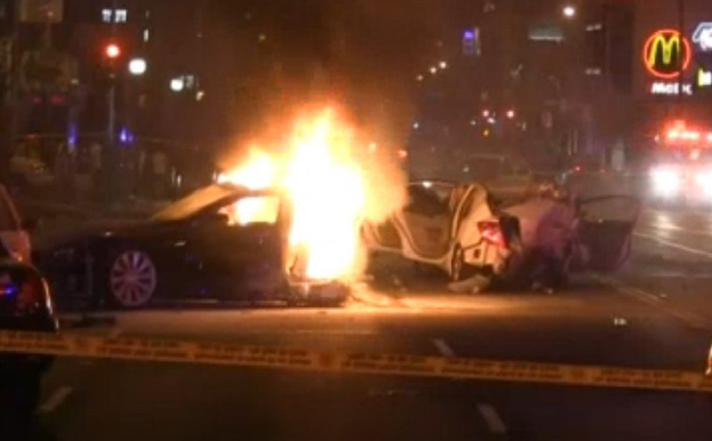 Stolen Tesla Model S splits in half, catches fire after massive crash in LA area