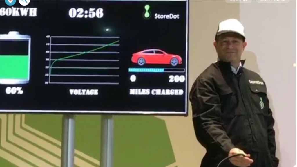 StoreDot shows fast-charging battery cell, Cube Tech Fair, Berlin [via Periscope: Gruendermetropole]