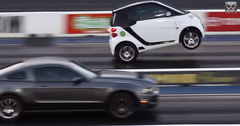 Supercharged Smart Car Does Wheelies Whips Mustang