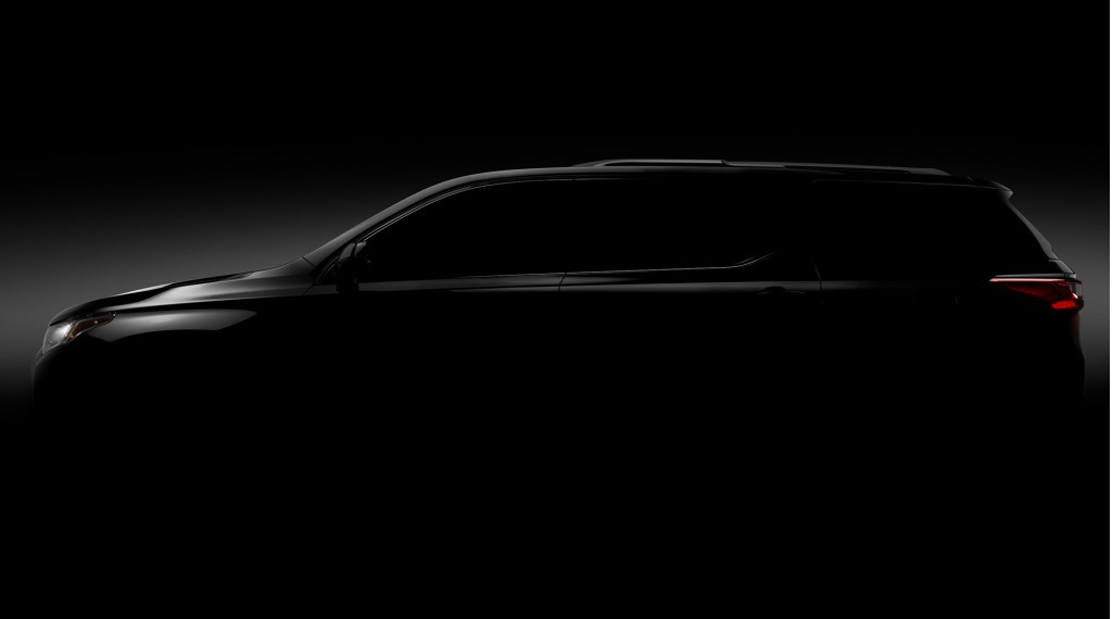 Teaser for 2018 Chevrolet Traverse debuting at 2017 Detroit auto show