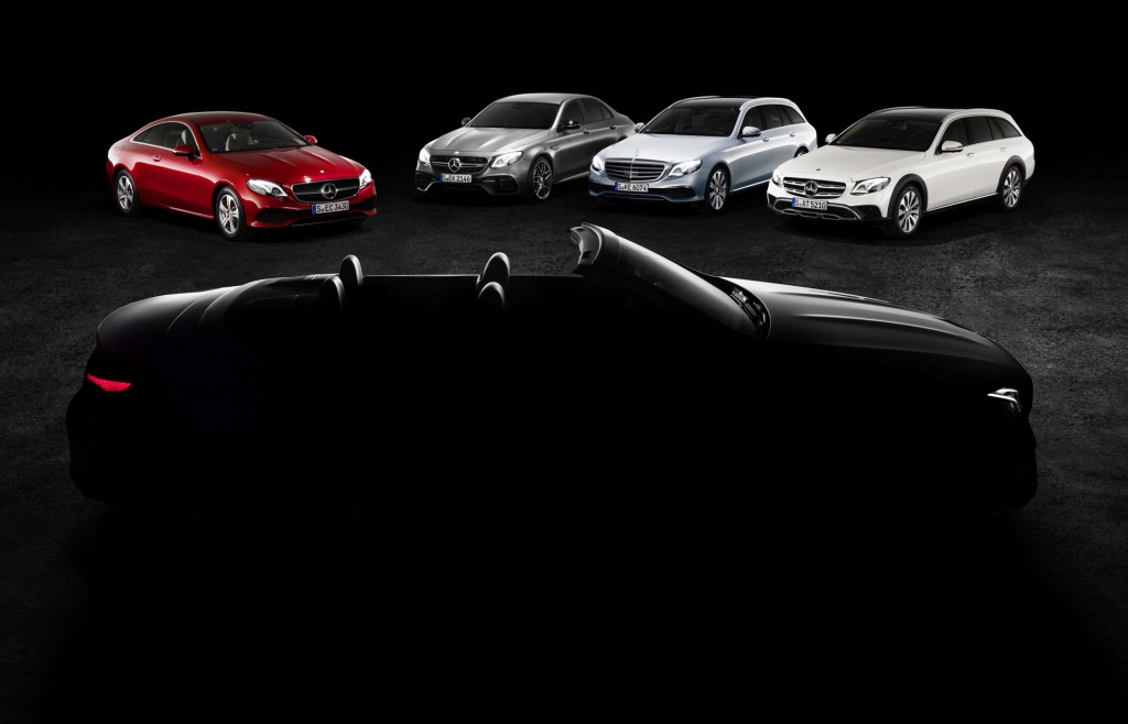 Teaser for 2018 Mercedes-Benz E-Class Cabriolet debuting at 2017 Geneva auto show