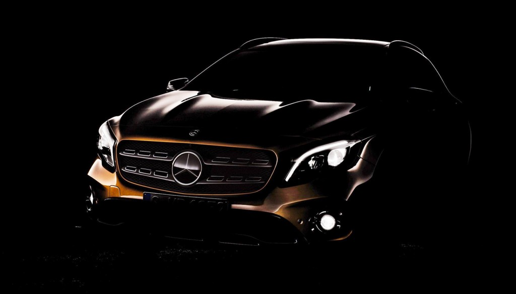 Teaser for 2018 Mercedes-Benz GLA debuting at 2017 Detroit auto show