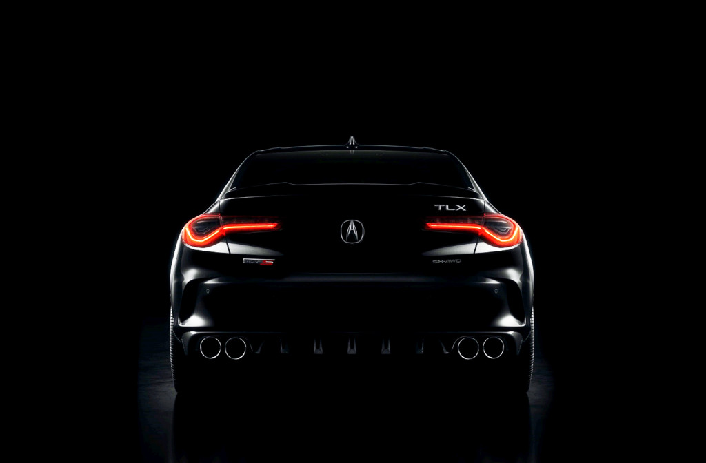 Teaser for 2021 Acura TLX Type S debuting on May 28, 2020