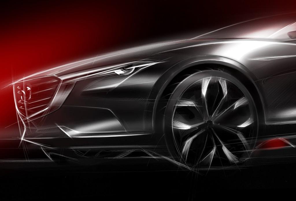 Teaser for Mazda Koeru concept debuting at 2015 Frankfurt Auto Show