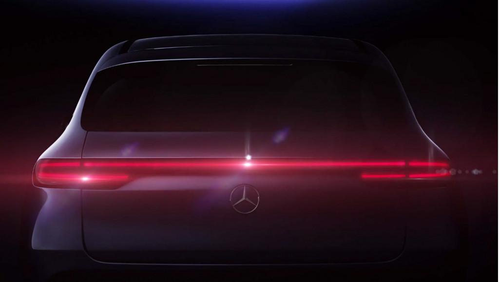 Teaser for Mercedes-Benz EQC electric SUV debuting on September 4, 2018