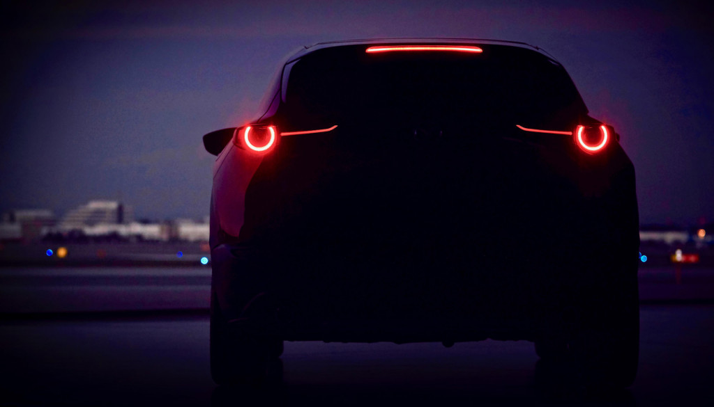 Teaser for the new Mazda SUV, which was presented in Geneva in 2019