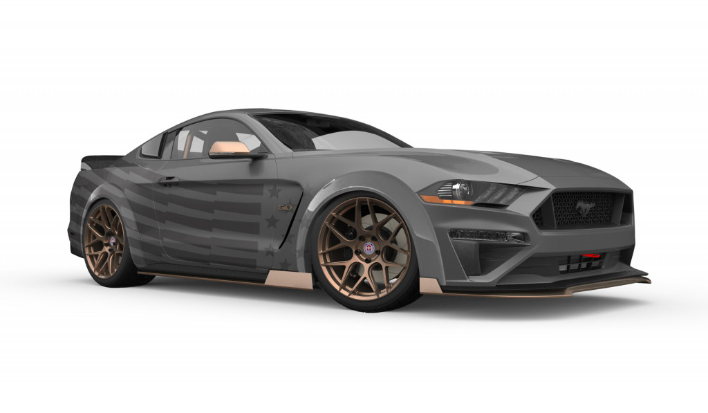 Teaser sketch for 2019 CJ Pony Parts Ford Mustang GT debuting at 2018 SEMA show