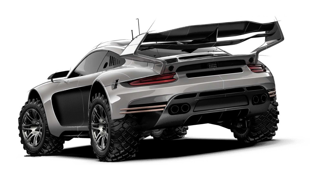 Teaser sketch for Gemballa Avalanche 4x4 based on the 991-generation Porsche 911