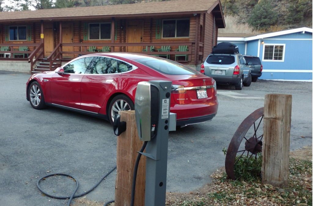 Tesla destination charging station in Bodie, California    [photo: George Parrott]