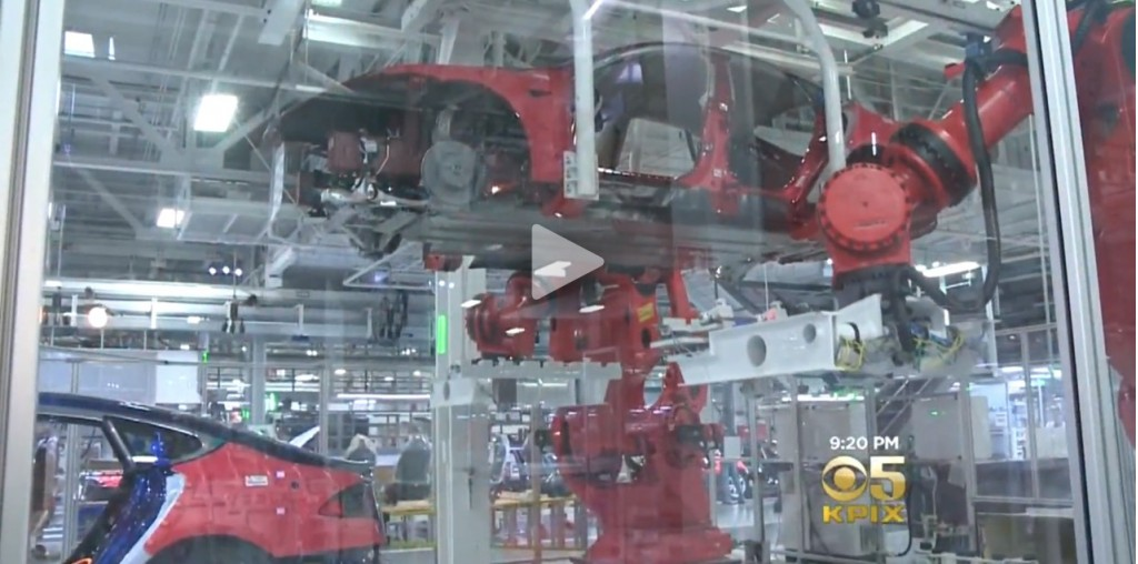 Tesla factory screencap from SF Bay Area CBS video