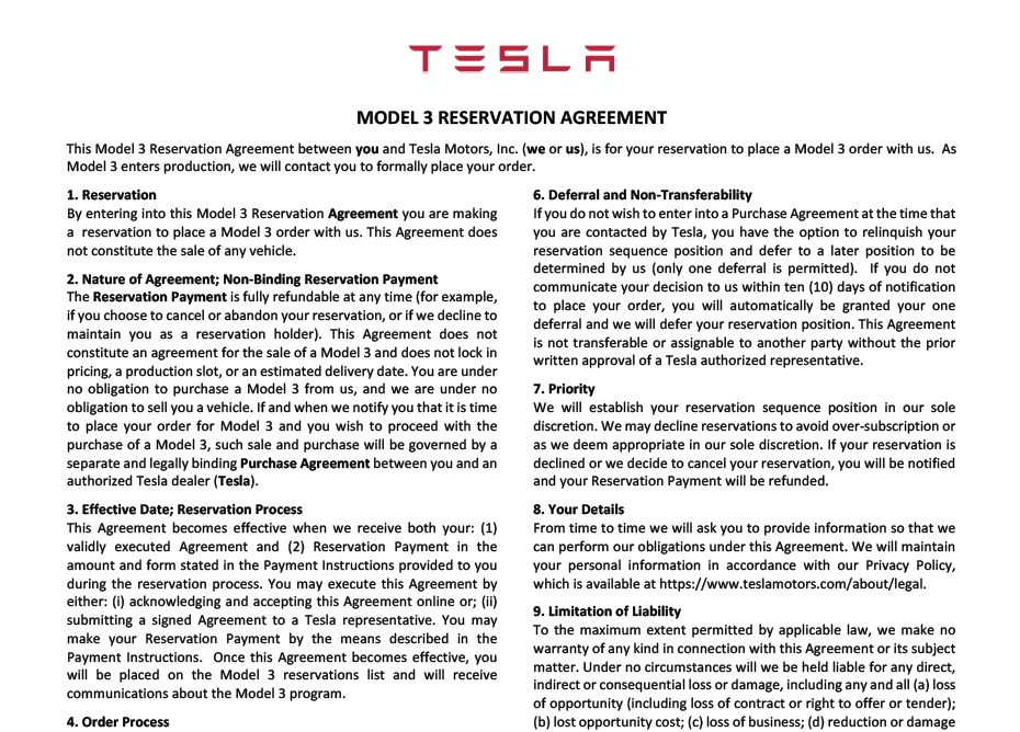 Here'S The Tesla Model 3 Reservation Agreement For Thursday
