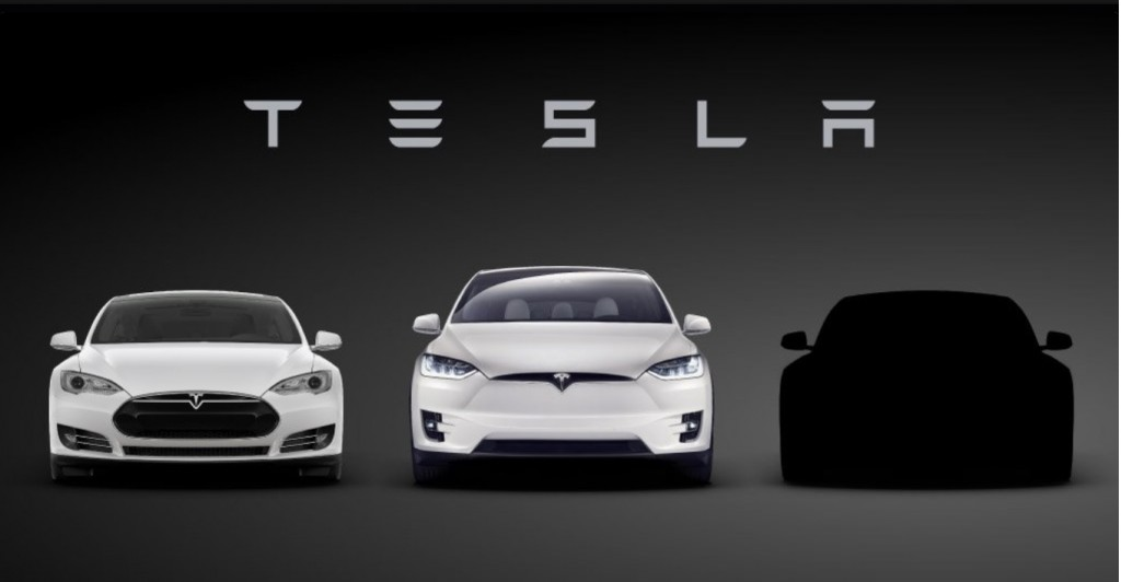 Tesla Model 3 teaser image with Model S and Model X, March 2016