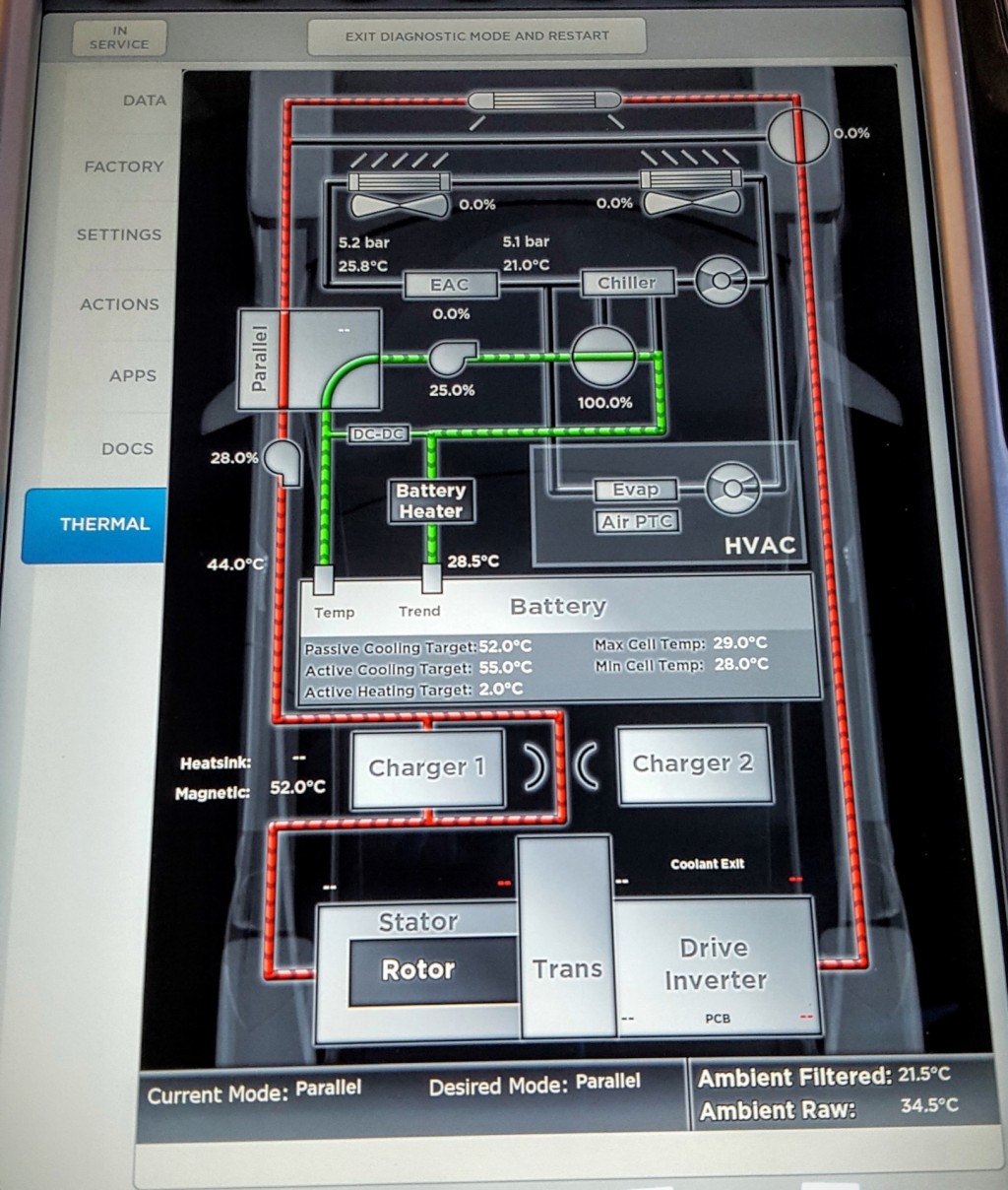 Image: Tesla Model S Thermal Management Screen