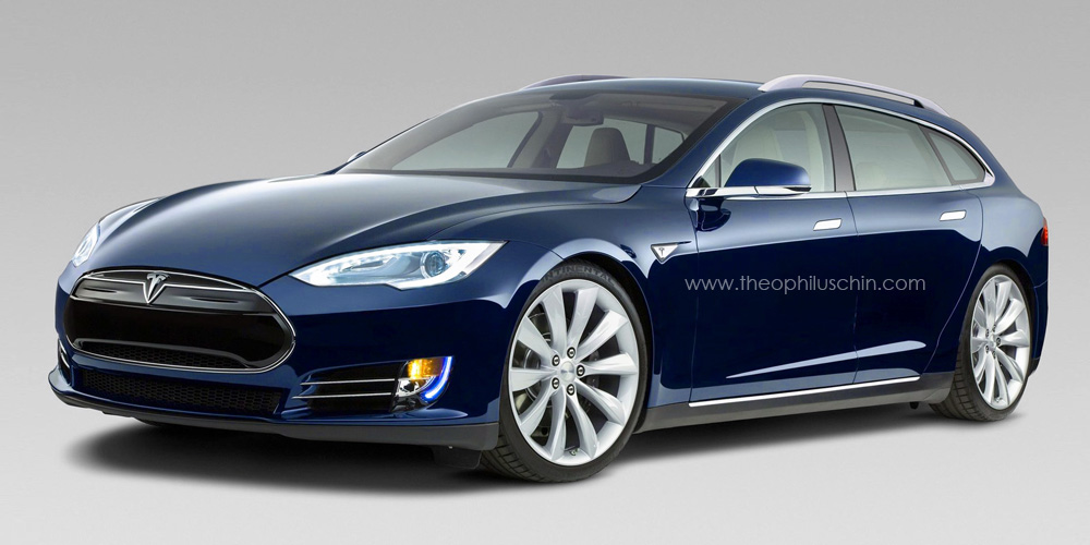 Tesla Model ST wagon render by Theophilus Chin
