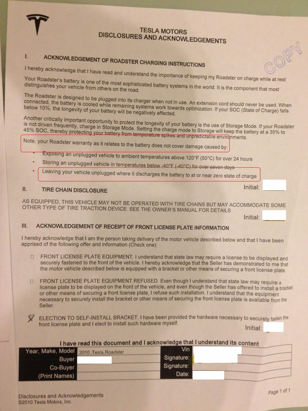 Tesla Roadster 'Acknowledgement of Charging Instructions' document (courtesy Tesla Motors Club)