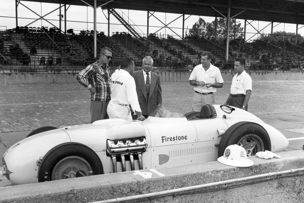 The 1954 Firestone test car at the Speedway | IMS Museum photo