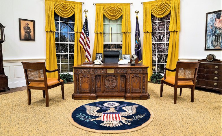 The replica Oval Office has been used as a television prop