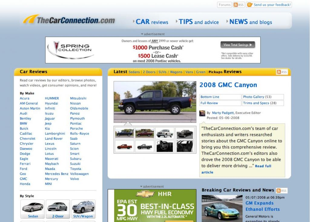 TheCarConnection.com 2008 New Site