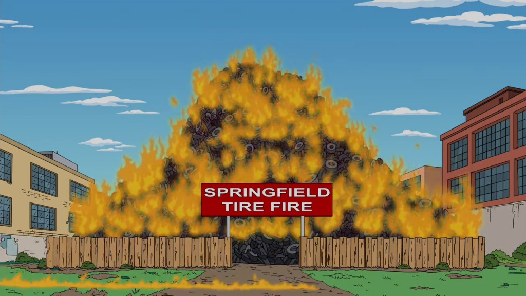Tire fire from The Simpsons