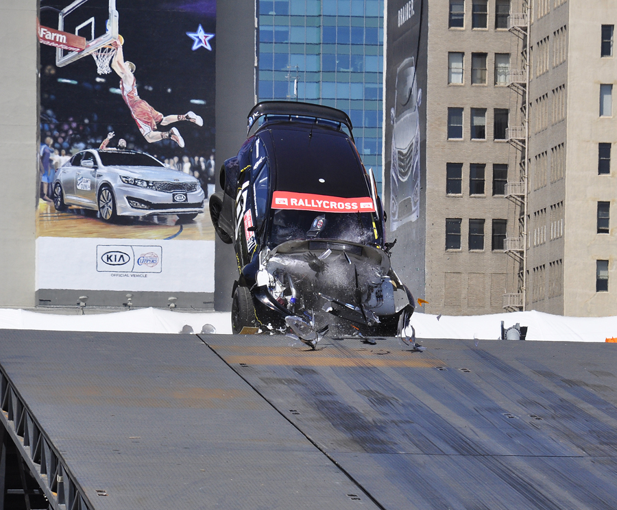 Toomas Heikkinen's car noses into the ramp - Anne Proffit photo