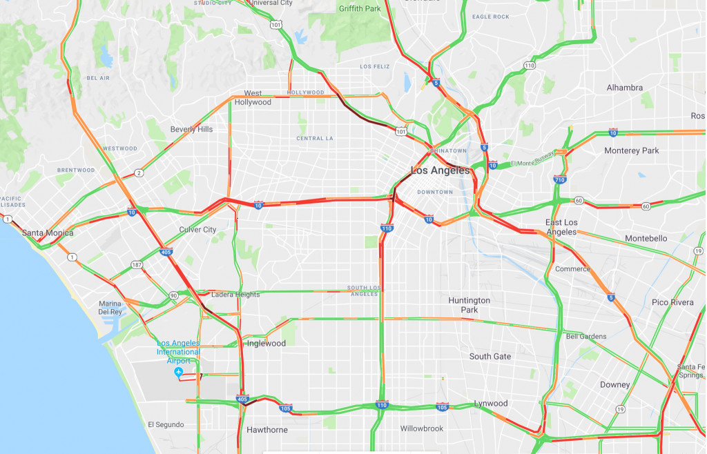 Traffic in Los Angeles on Google Maps