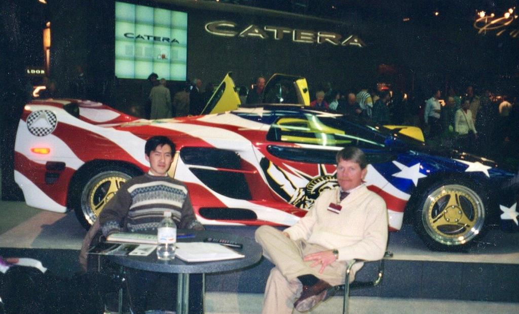 Vector M12 debut at the 1996 Detroit auto show with engineers Don Kamarga and Tom Foley, photo by Don Kamarga