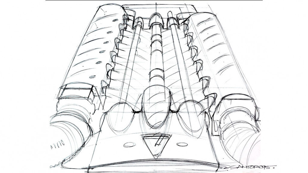 Vector M12 engine cover sketch by Michael Santoro