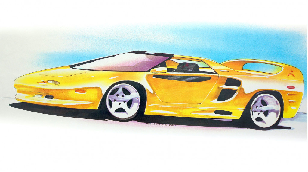 Vector M12 Targa design sketch by Michael Santoro